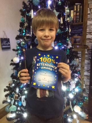 December 2016 - Tadpole with his attendance award