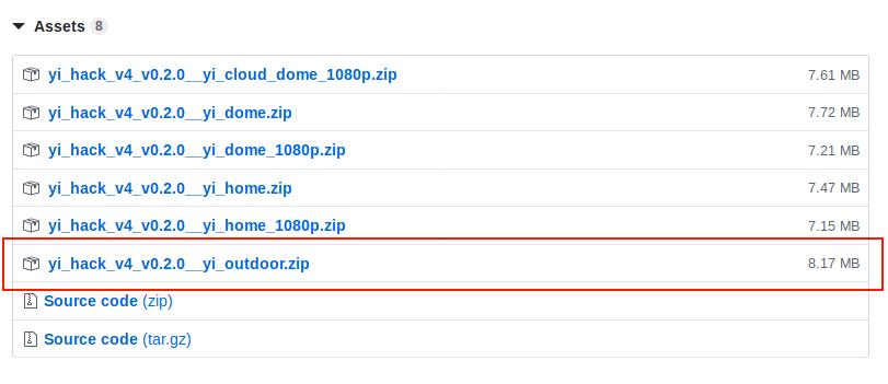 Yi Hack v4 release page screenshot