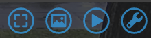 The MotionEye camera action icons showing fullscreen option, saved images and video library and settings panel (wrench icon).