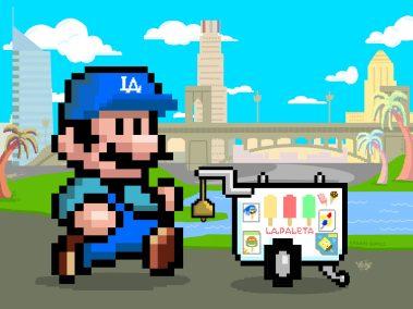 8-bit style Super Paletero Mario - LA Blue
