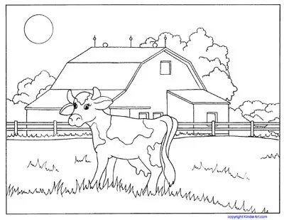 Cow And Barn Coloring Page Kinderart Com