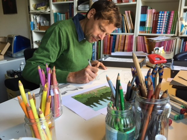 Philip Waechter beim Zeichnen