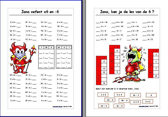 Vermenigvuldiging Werkbladen Nummers 1-12 4