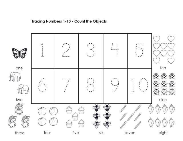 Voorschoolse Werkbladen Nummers 1-10 3
