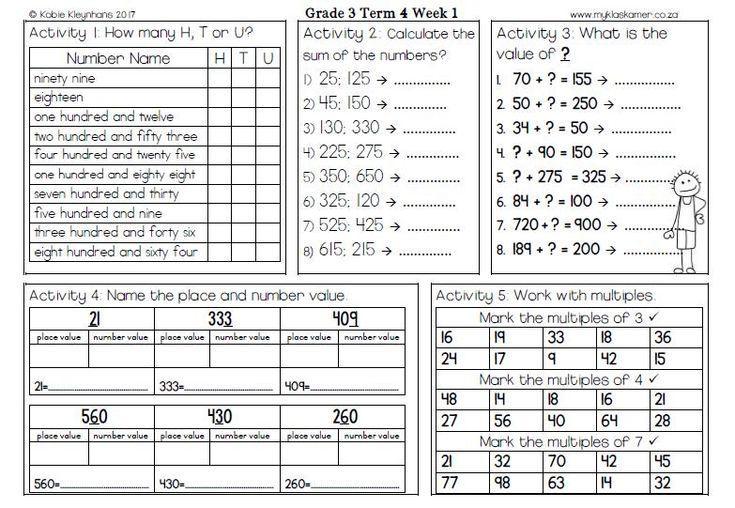 Algebra-werkbladen Klasse 8 6