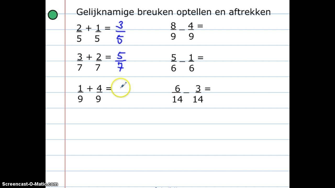 Wiskunde-werkbladen Over Breuken 5