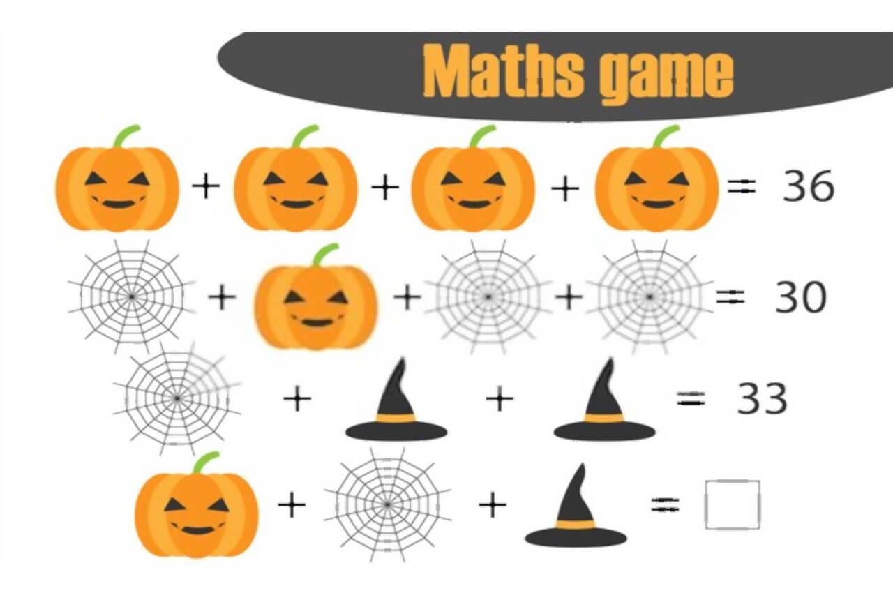 Algebra Halloween-werkbladen 6