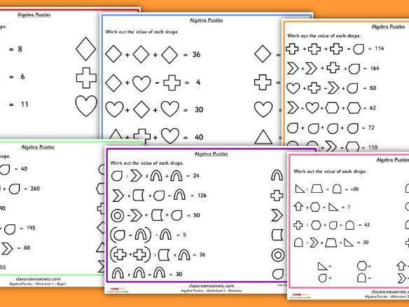Algebra Puzzel Werkbladen Middelbare School 4