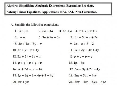 Algebra-werkbladen Ks3 4