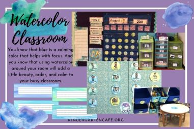 Watercolor classroom elementary theme includes calendar, classroom labels, class jobs, table numbers, nametags, and more!