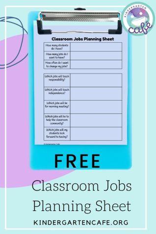 ideas for classroom jobs free planning sheet