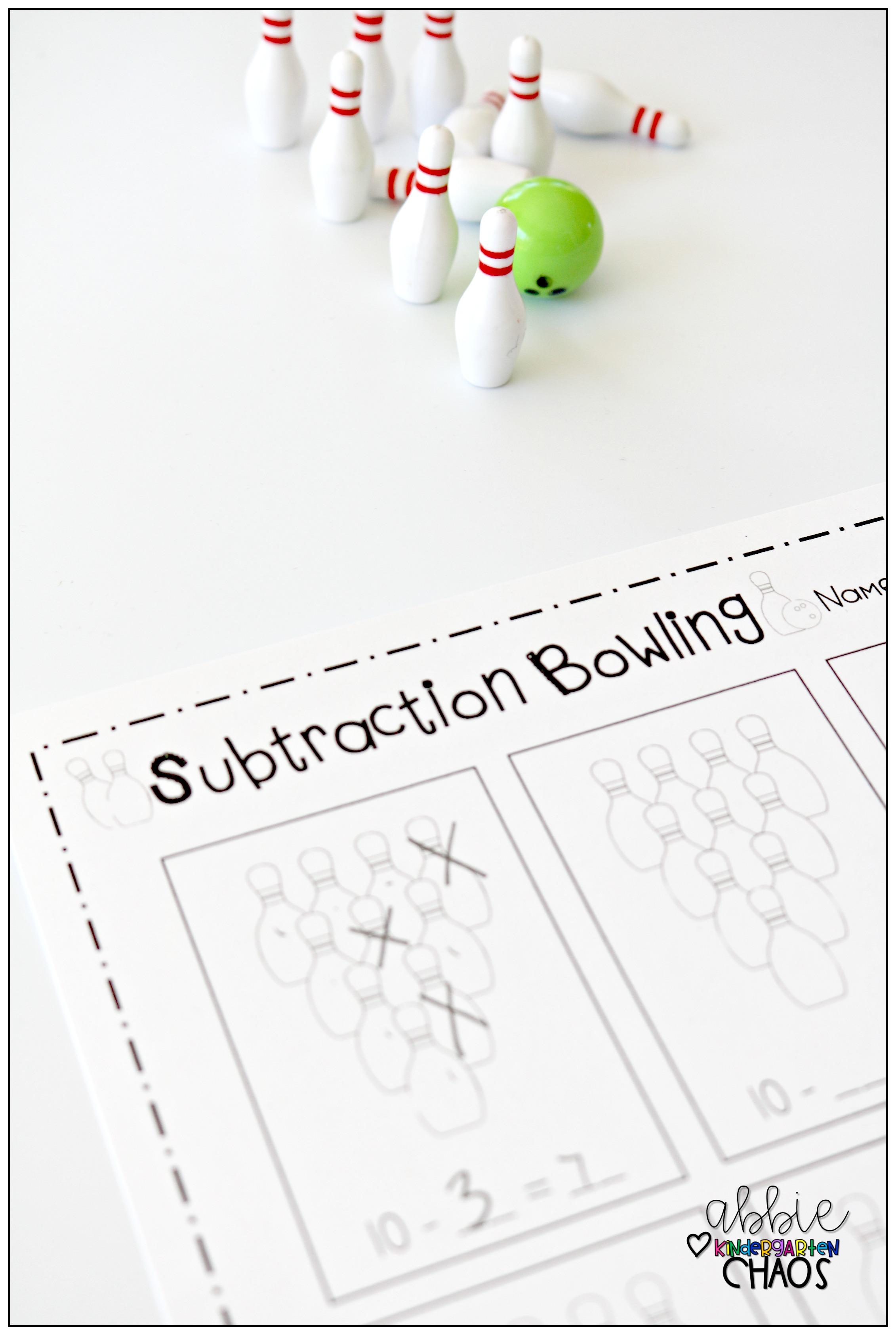 Subtraction Bowling Worksheet For Kindergarten