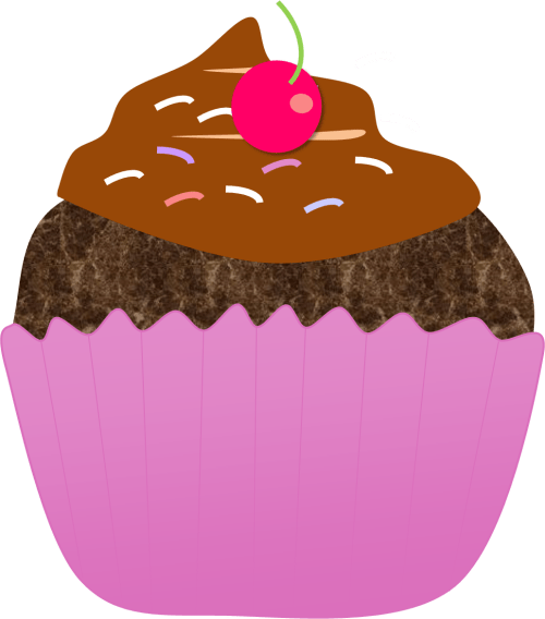 chocolate cupcake with cherry clip art