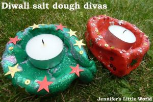 Colored Salt Dough Candle Holders