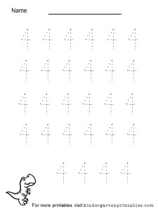 tracing number 4 worksheet
