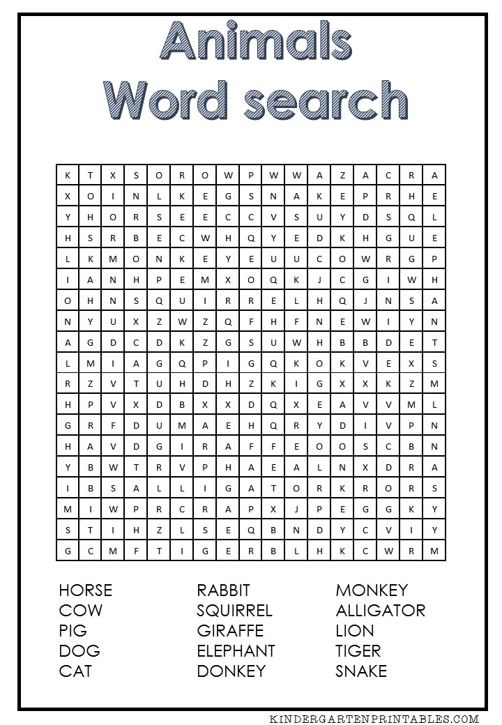 graphic regarding Animal Word Searches Printable titled Animal term look totally free printable