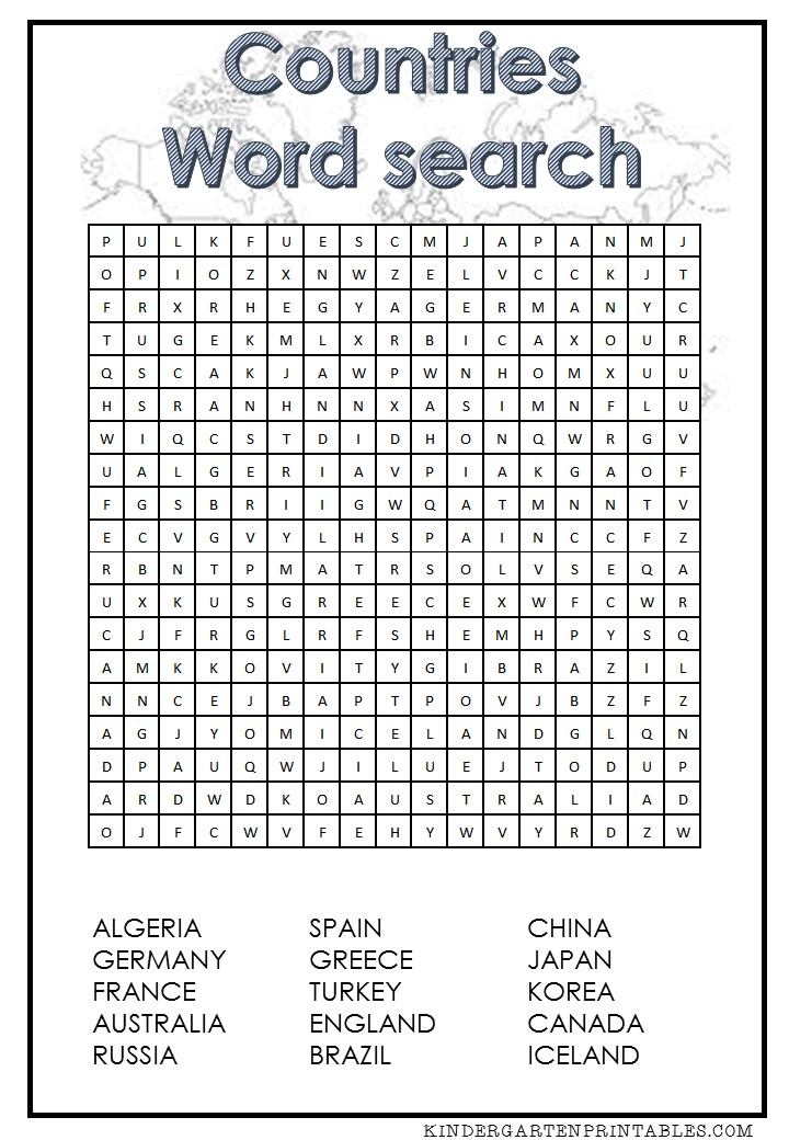Countries word search free printable