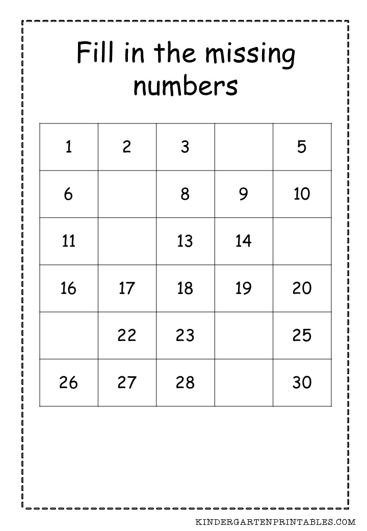 Number Worksheets 1 30 Free Worksheets Library | Download and ...