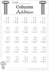 Column Addition 2 Digit 3 addends