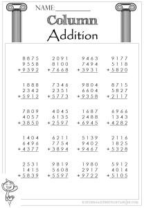 Column Addition 4 Digit 3 addends