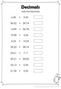 Add Decimals Hundredths Worksheets