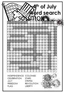 4th of July Word search puzzle for kids