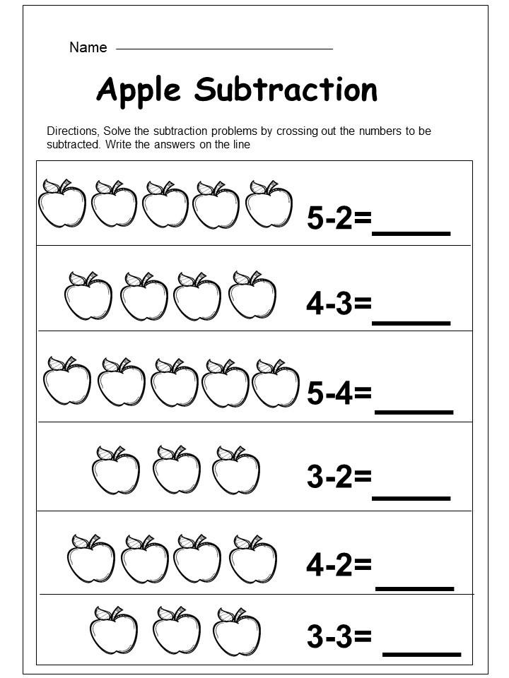 Free Apple Subtraction Worksheet - Kindermomma.com