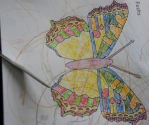 Zuerst malen wir unsere Schmetterlingsvorlage an.  Foto (c) kinderoutdoor.de
