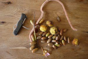 Basteln mit Kastanien und Eicheln. Aus diesem Sammelsurium entsteht ein Dino. foto (c) kinderoutdoor.de