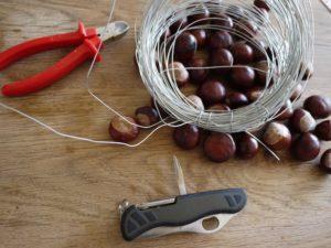 Kinder basteln mit Kastanien: Hier seht Ihr das Material dazu. foto (c) kinderoutdoor.de