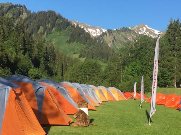 Statt langweiliger Hotelzimmer, schliefen die Teilnehmer vom Marmot Familycamp im Zelten. Fließend Wasser inklusive von der Breitach. foto (c) kinderoutdoor.de