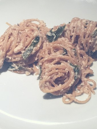 wholewheat pasta with cashew sauce and seaweed
