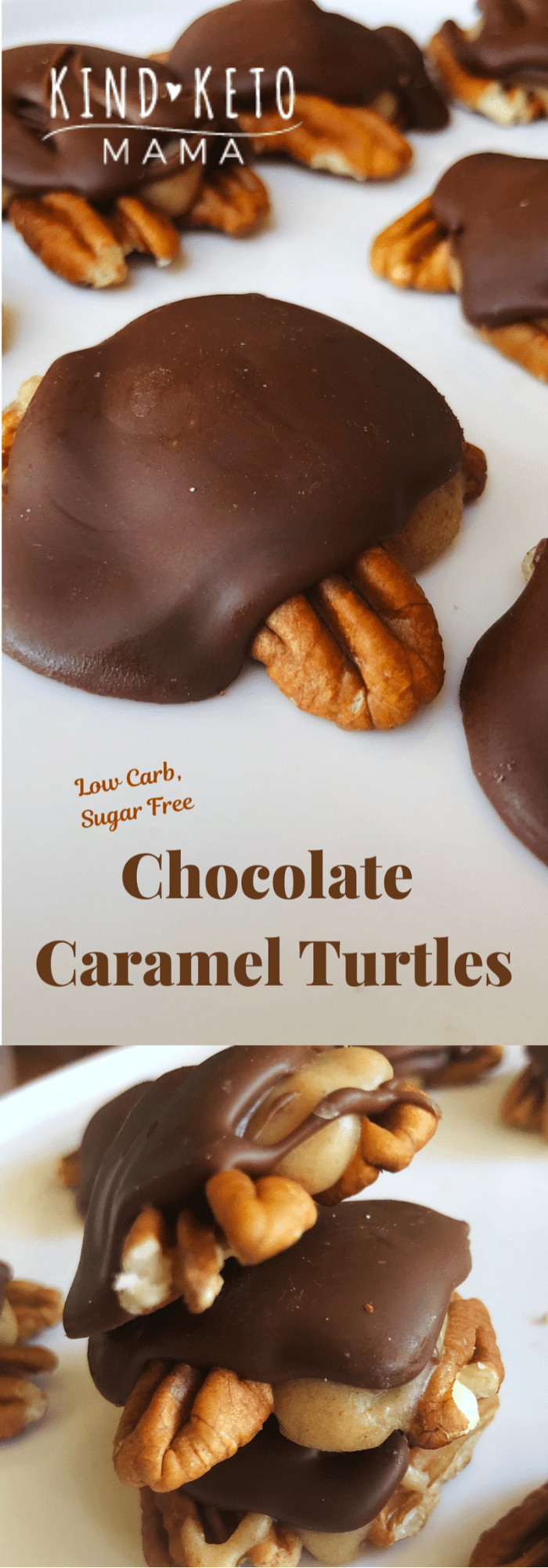 Keto Low Carb Sugar Free Chocolate Pecan Turtle Candies