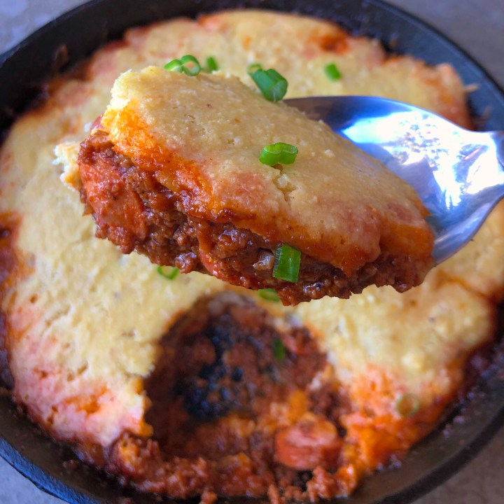 Low Carb Chili and Corn Bread Skillet