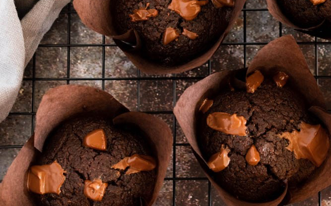 Keto Double Chocolate Chunk Muffins