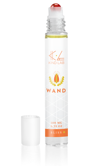 Kind Lab Bliss Wand, CBD Topical Roll-on, orange font