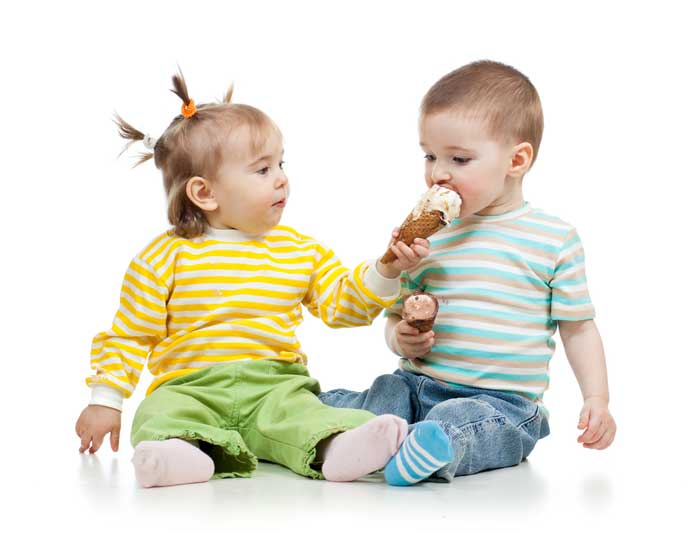 Babies Eating Ice Cream