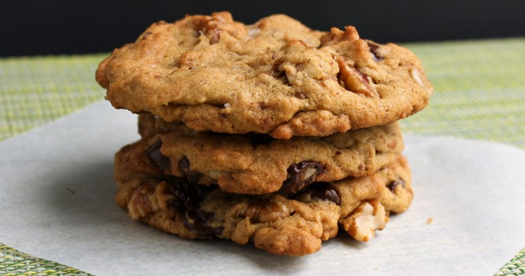 Salted Vegan Chocolate Chip Pecan Cookies, crispy AND chewy!