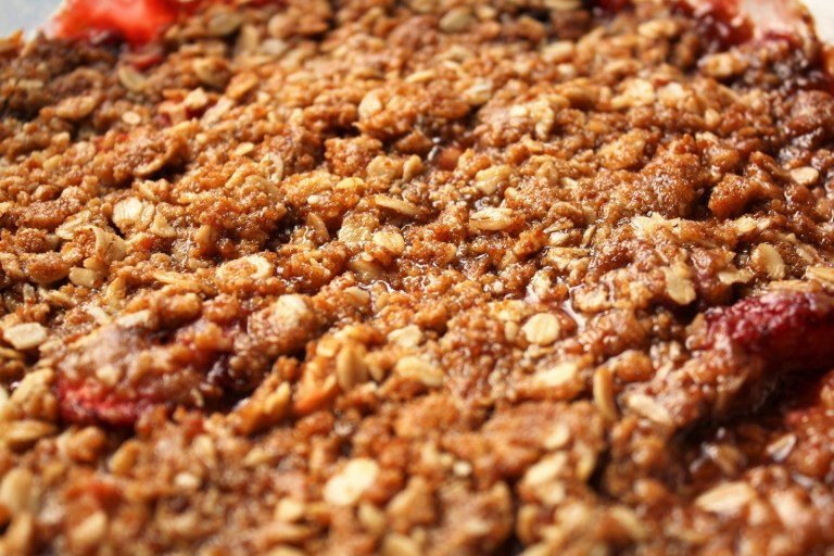 Strawberry Rhubarb Crisp Close Up