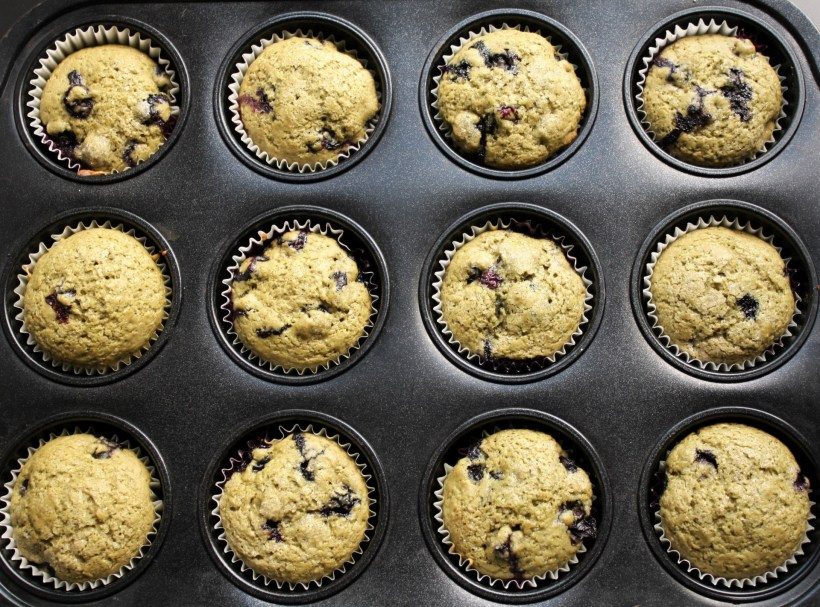 Blueberry Matcha Muffins Baked