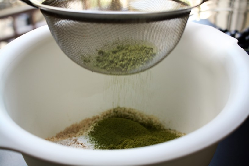 Blueberry Matcha Muffins Ingredients Sifting