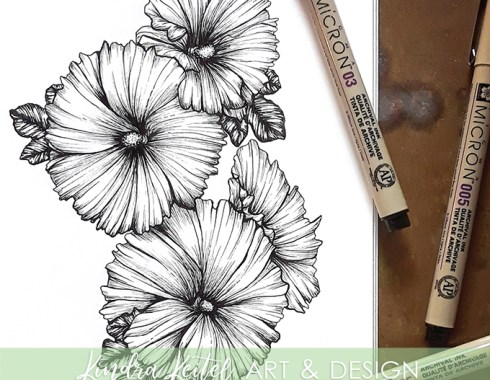 hollyhock botanical illustration