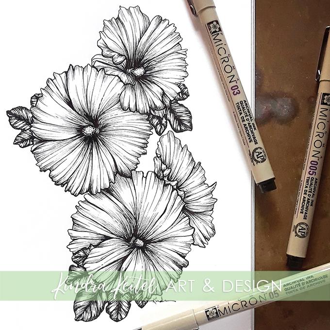 hollyhock botanical illustration