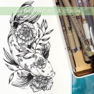 koi and hellebore botanical illustration