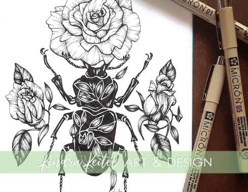 beetle rose botanical illustration