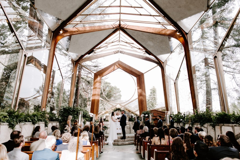 Glass chapel intimate wedding in Palos Verdes - Wayfarers Chapel