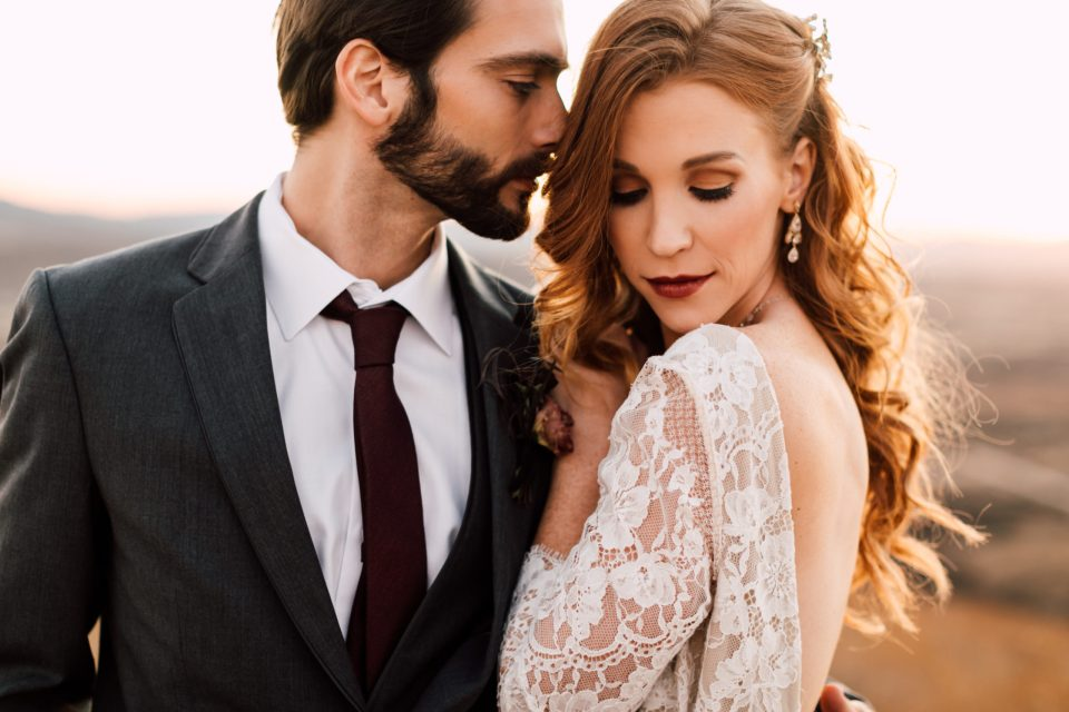 Glam bridal style bride with boho waves and classic Hollywood style makeup