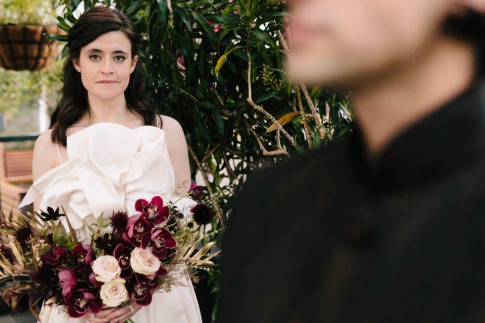 Bride with avante garde jewel toned bouquet
