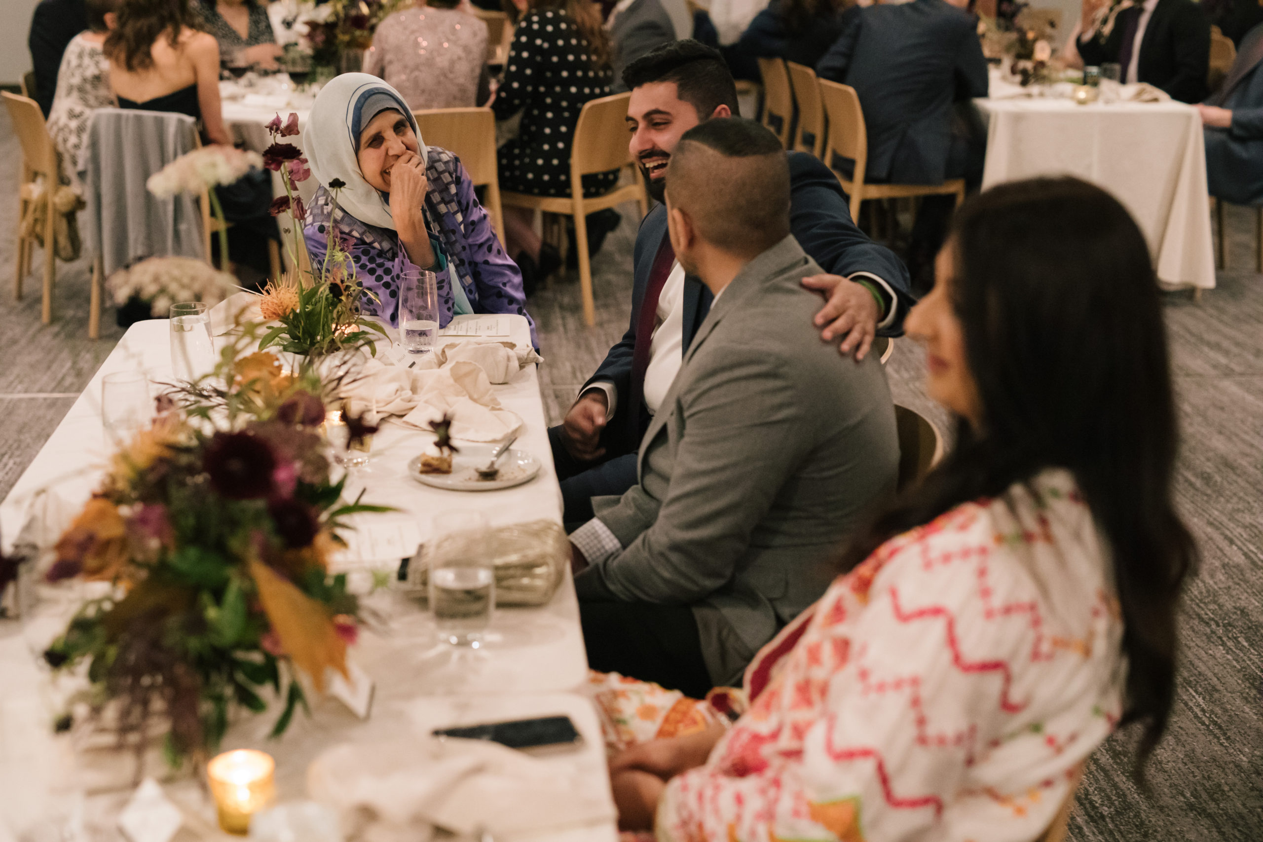 Intimate dinner at small wedding