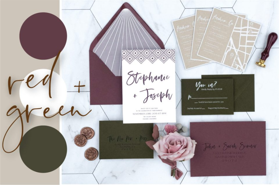 red and green wedding color palette